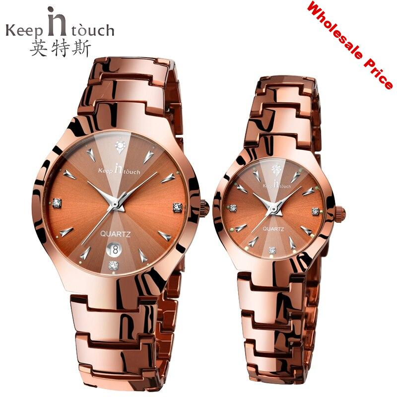 Keep in touch Lovers Watch Luminescent Calendar Couple Watches for Lovers Coffee Golden Watch Men and Women in Pair with box