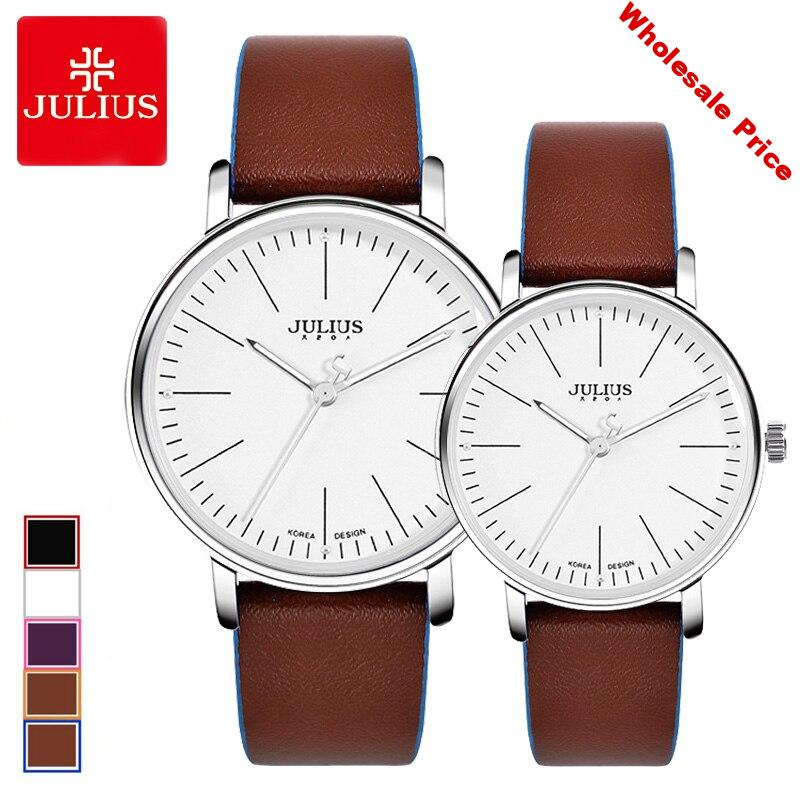 Classic Women's Watch Men's Watch Clock MIYOTA Contrast Color Couple Fashion Hours Leather Simple Lovers' Gift Julius Box