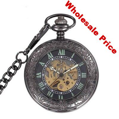 Fashion Tungsten Steel black Mechanical Hand Wind  Fob Watch Casual vintage Pocket Watches for Men Women