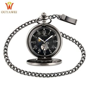OUYAWEI Vintage Pocket Watch Black Case Hollow Dial Moon Phase Function Hand Wind Mechanical Fob Watch