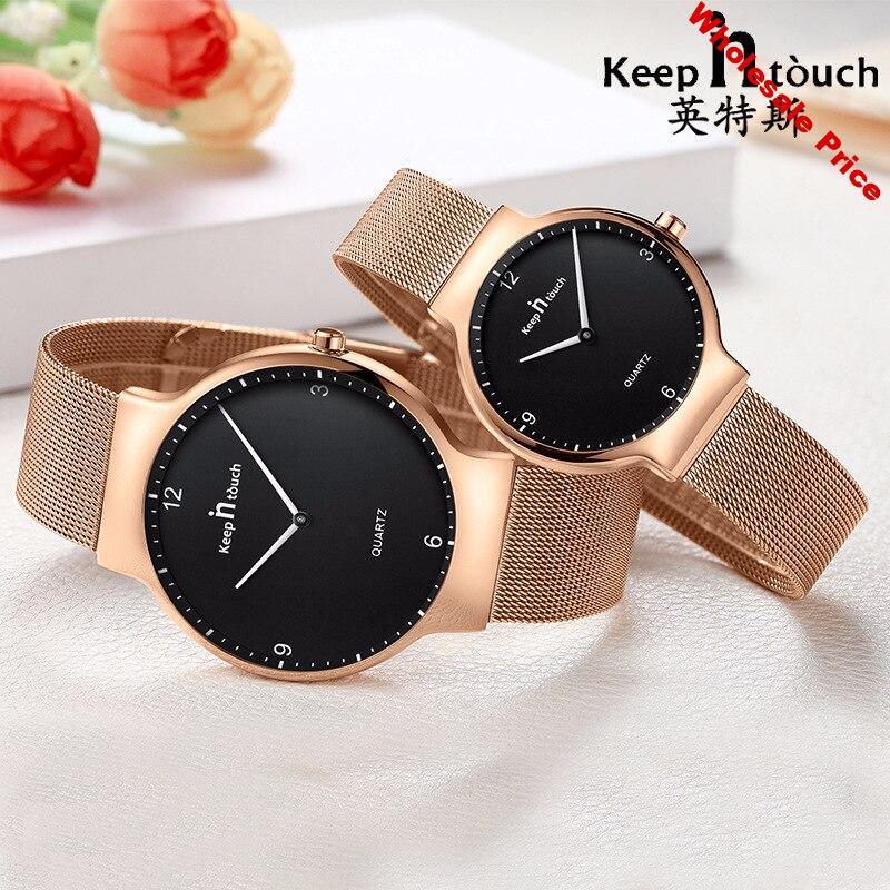 KEEP IN TOUCH NewFashion Simple Womens Mens Wristwatch Waterproof Quartz Lovers Watches Thin Stainless Steel Strap Couple Watch