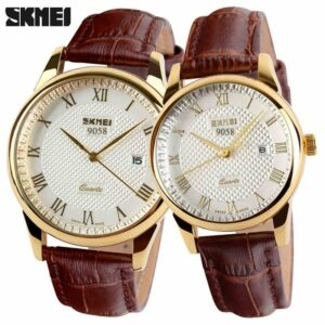 SKMEI Women Dress Watches Luxury Lovers Couple Watches Men Date Waterproof Women Leather strap Quartz Wristwatch Montre Homme