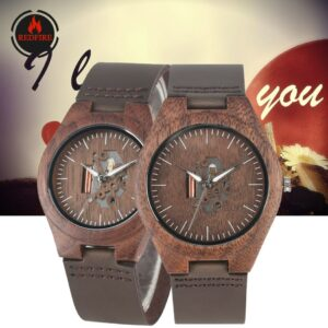 REDFIRE Creative Hollow Dial Walnut Wood Watch Couple Watches Quartz Movement Hot Fashion Lovers Genuine Leather Wood Wristwatch