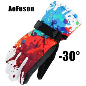 Winter Ski Snowboard Gloves Waterproof Breathable Warmth Plus Thick Velvet Cycling Motorcycle Snow Sports Women Men Gloves 2018