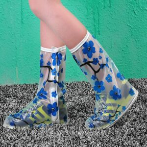 Blue Flower PVC Anti-Slip Waterproof Boots Thickened Women/Girls/Children Reusable Shoes Covers Rain Protective Cover For Shoes
