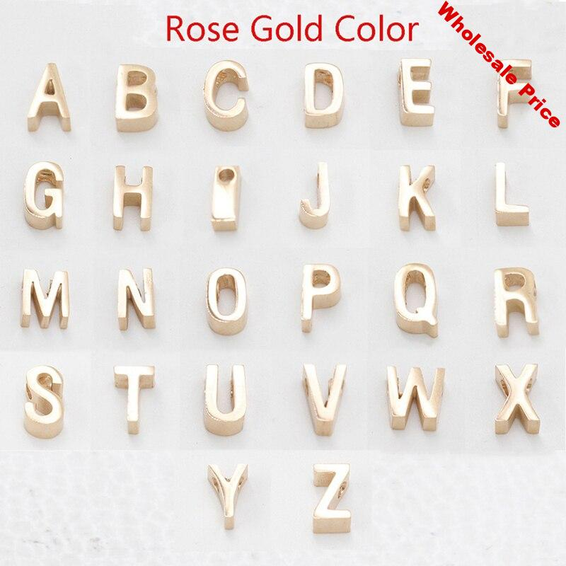 100% Stainless Steel Letter Beads Charm For Jewelry Making Rose Gold Metal A-Z Alphabet Charm Mirror Polished Wholesale 26pcs