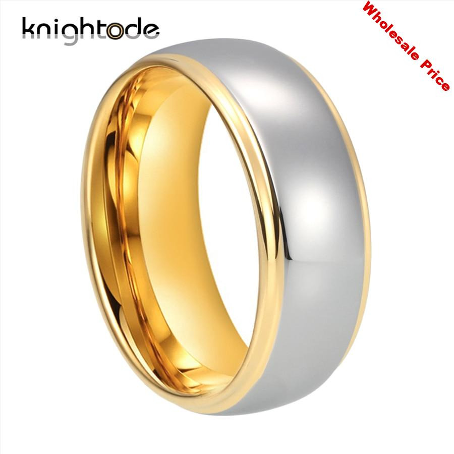 6/8mm Fashion Tungsten Carbide Wedding Band For Men Women Engagement Ring  Lover's Jewelry Gold Color Steped Dome Band Polishing