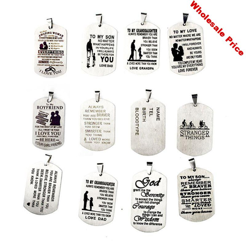 12Pc Dad Mom to My Son Daughter I Want You to Believe Stainless Steel Pendant Dog Tag Military Air Force Pendant Jewelry