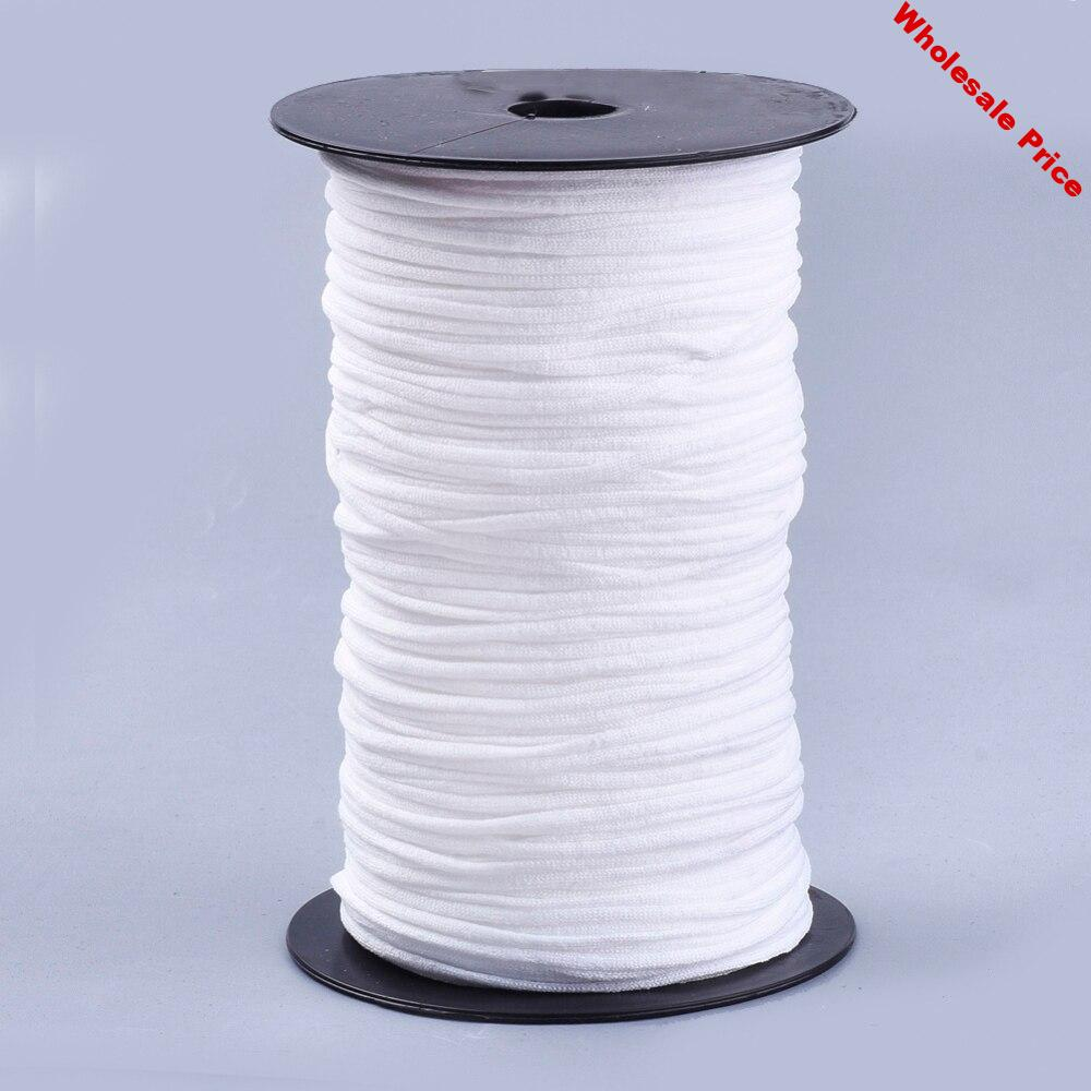 2mm~3mm Flat Nylon Elastic Band for Face Mask Ear Loop White Mask Elastic Cord DIY Making Mask Material about 225~240m/roll