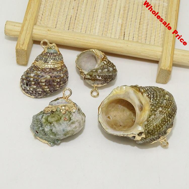 DIY Jewelry Making Vintage Natural Green Mother of Pearl Shell Pendants Gold Plated Abalone Shell Pendants