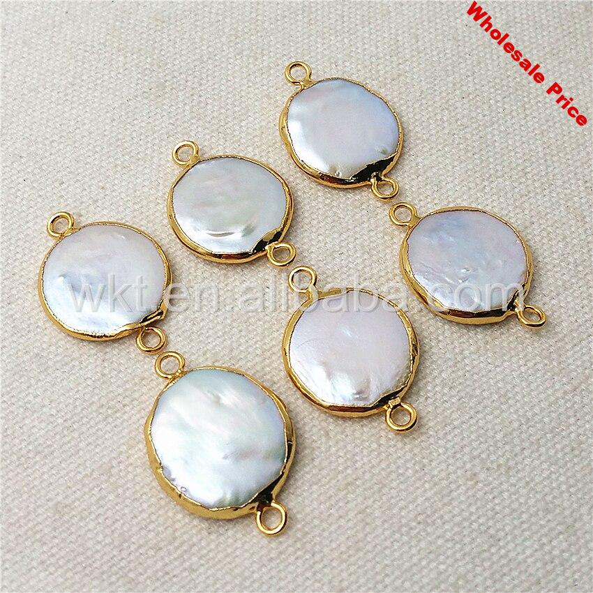 WT-C152 Charm Round Pearl Connector for necklace natural pearl raw color shape pearl jewelry with gold strim pearl connectors