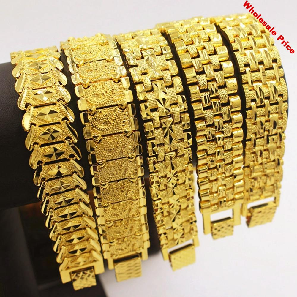 Mens Jewelry Hip Hop Style Solid Yellow Gold Filled Mens Bracelet Wrist Chain Link 8.3 Inches Fashion Accessories Gift
