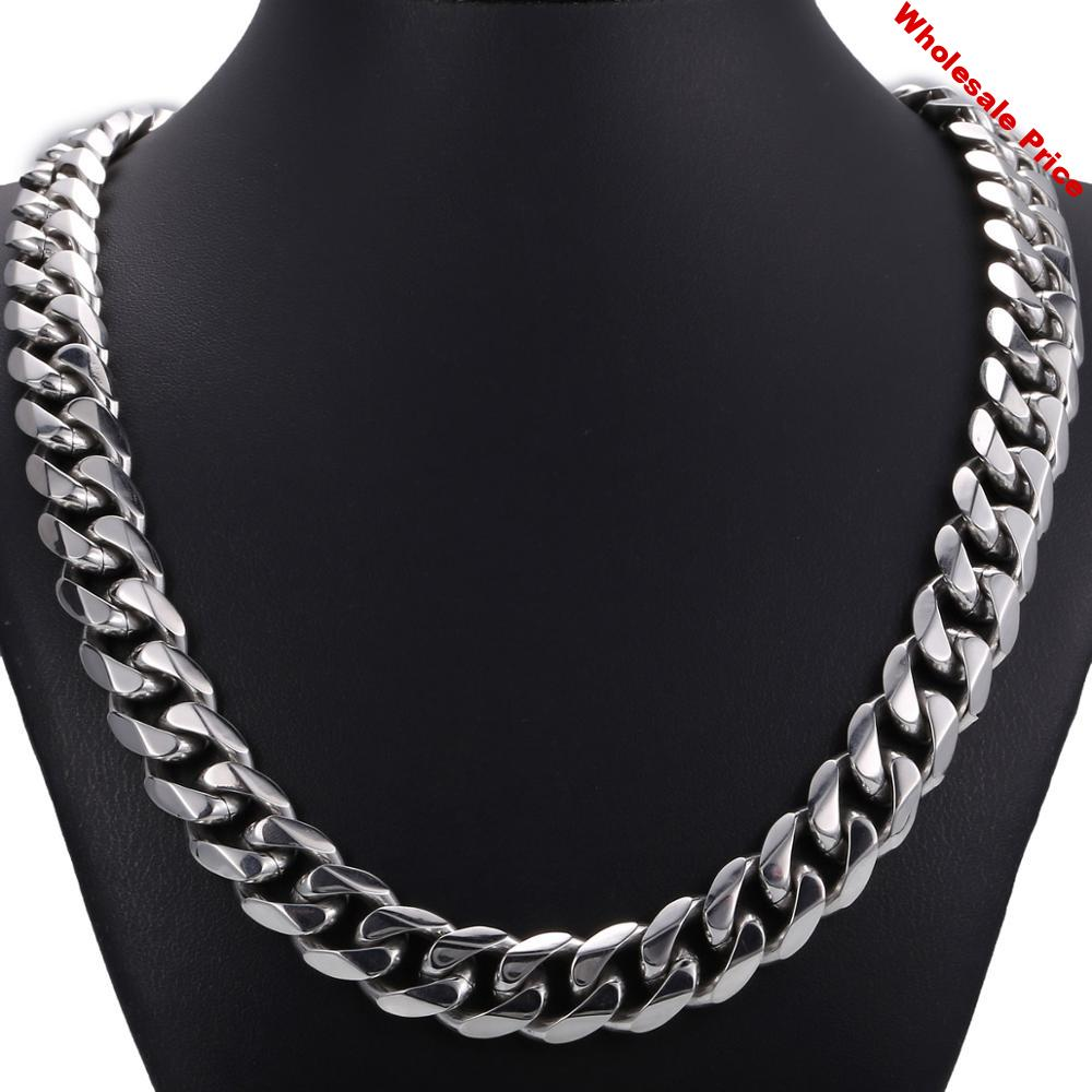 14.5mm Heavy Polished Silver color Tone Cut Curb Cuban Mens Chain 316L Stainless Steel Necklace Clasp HN48
