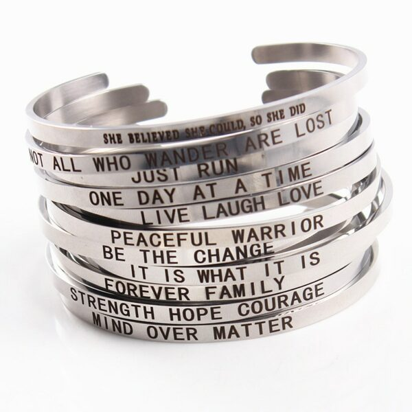 Wholesale 10pcs stainless steel bangle bracelets men's women's etching words silver plated  love open cuff charm fashion jewelry
