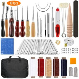 Leather Saddle Making Kit Leather Craft Hand Tools Kit for Hand Sewing Stitching Stamping Saddle Making Leather Working Tools