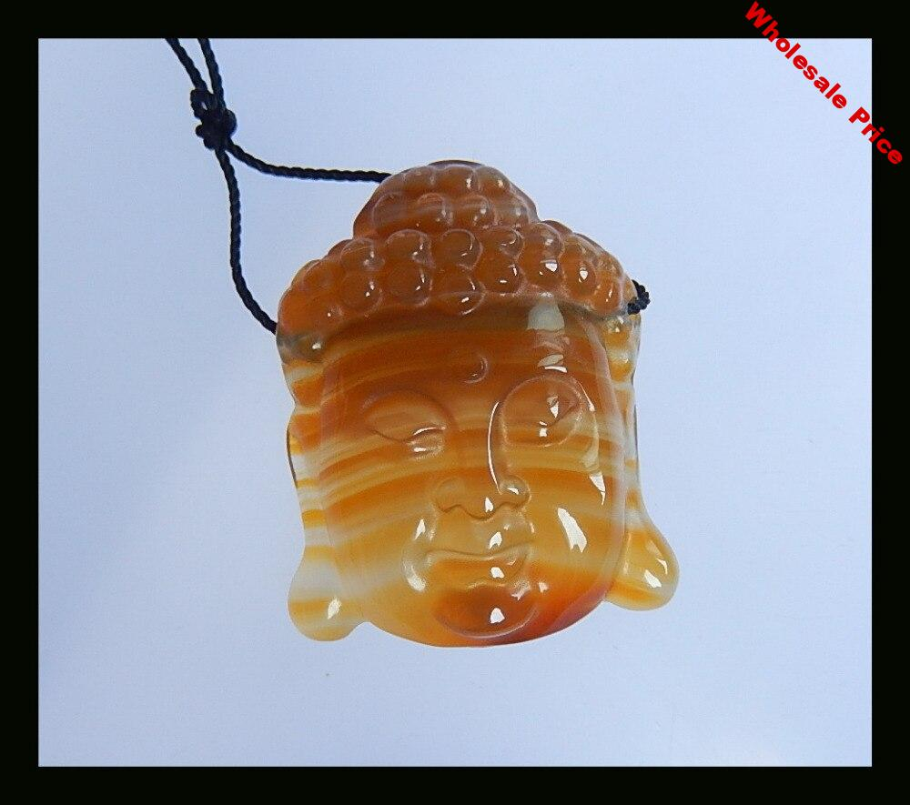 Natural Stone Carved Buddha Head Red agate Necklace Pendant