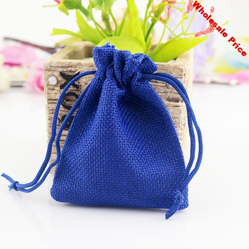50pcs 7x9cm Royal Blue Jute Bag Small burlap Drawstring Pouch Jewelry Bag Wedding Decoration Charms Gift Jewelry Packaging Bags
