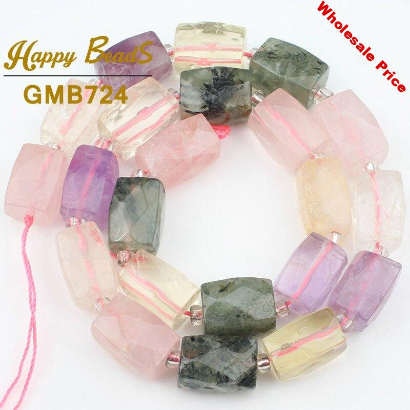 """Natural Faceted Mixed Quartz Beads Irregular Column High Quality Loose Bead For Jewelry Making Diy Pendant Bracelet 11x16mm 15"""""""