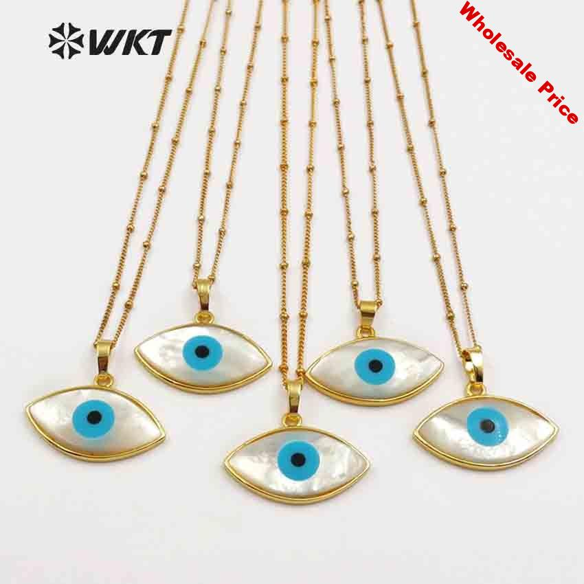 WT-JN047 Natural White Shell Evil Eye Pendant With Gold Bezel Women Dainty Shell Jewelry Bohe 18'' Inch Gold Layer Necklace