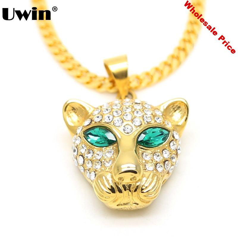 Fashion Brand Leopard Animal Necklace Green Eye Iced Out Bling Bling American Cheetah Stainless Steel Pendant Hip-Hop Necklace
