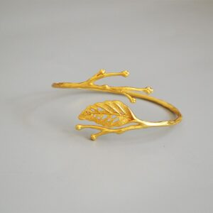 CMajor Fashion Brass Jewelry Creative Temperament Vintage Leaf Twig Korean Plating Technique Gold Plated Cuff Bangle for Women