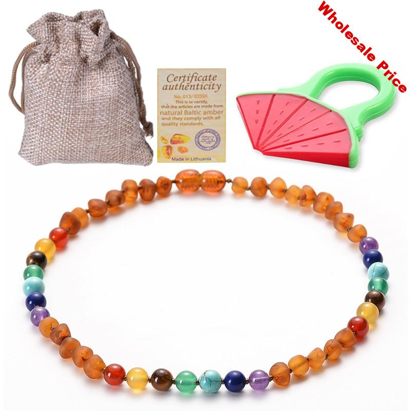 Baltic Ambers Teething Necklace for Babies Chakra and Ambers Bead Handmade-Teething Pain Relief GIA Certificated Natural Jewelry