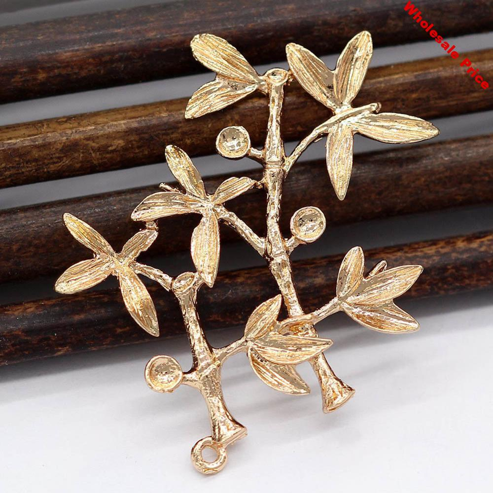 10pcs Brass Casting Bamboo Leaf tree Branch Connectors High Quality Raw Brass Gold Silver Color DIY Supplies Jewelry Crafts