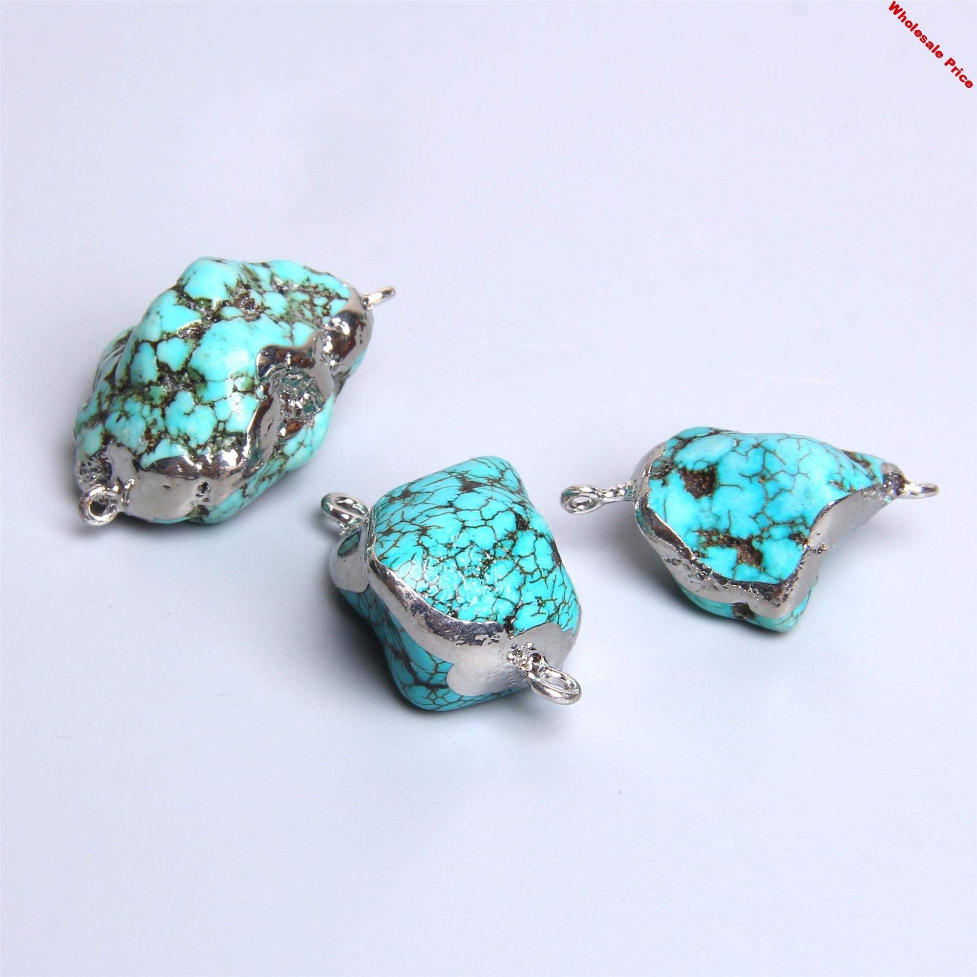 10pcs Natural turquoises connectors pendants irregular natural stone agat druzy pendant blue turquoises for jewelry making gift