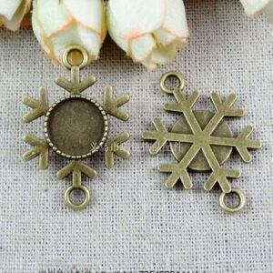 (A2672) 60pcs/bag size 25*23mm fitting 12mm  bronze snowflake zakka Antique diy pendant Jewelry findings for chain  accessories