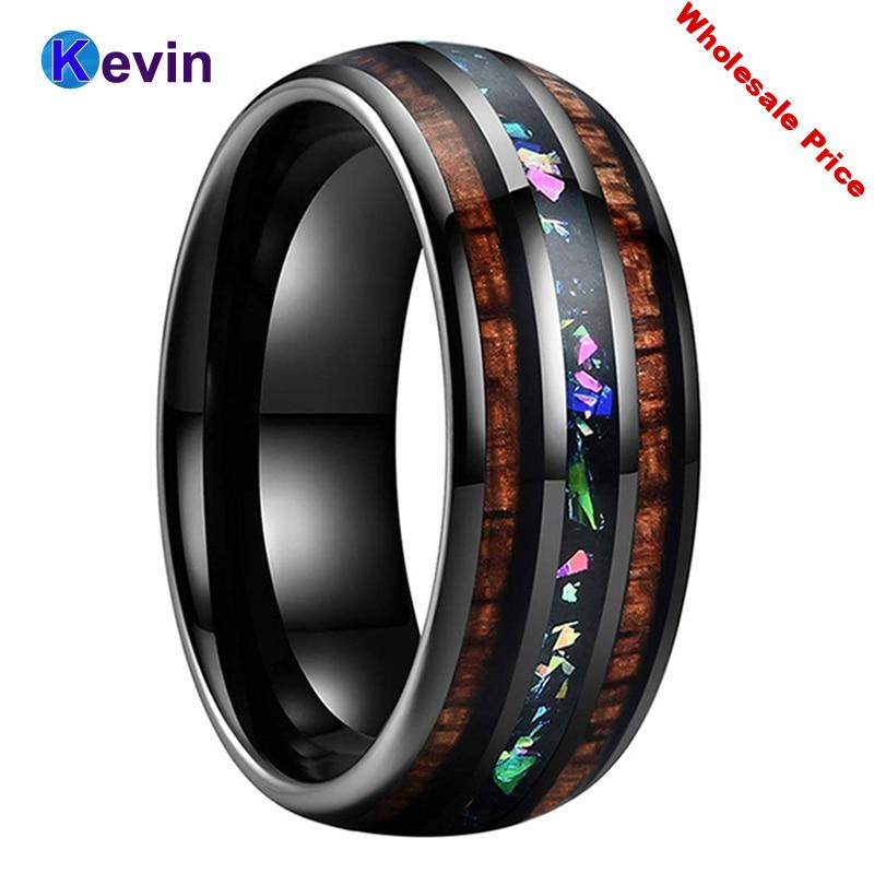 Black Wedding Ring Tungsten Wedding Band For Men Women with Fire Opal And Hawaii Koa Wood Inlay Domed Band Comfort Fit