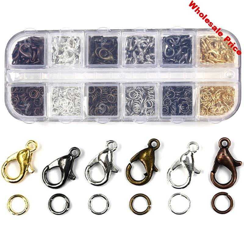 6*12mm Clasps Hooks 5mm Open Jump Ring DIY Jewelry Making Necklace Bracelet Clasp Metal Lobster Clasps Jewelry Findings With Box