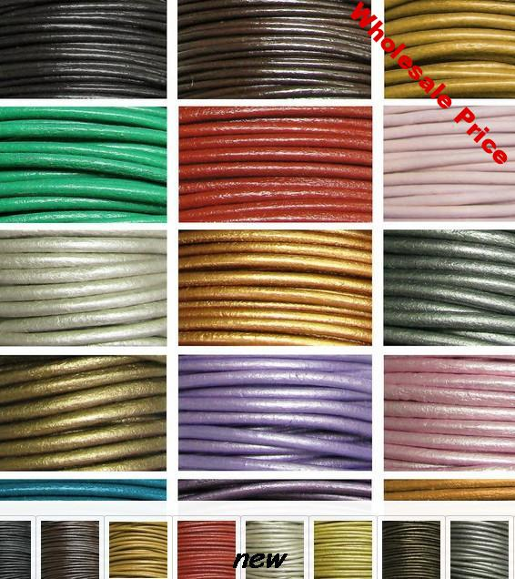 2mm mixed color Frfg34ng Jewelry DIY 100 Meters Black real Round Genuine Leather cords Necklace Bracele Cord string Rope