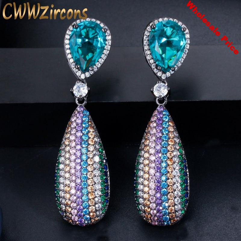 CWWZircons Micro Pave Cubic Zirconia Stone Long Dangle Drop Rainbow Color Engagement Wedding Party Earrings for Women CZ567