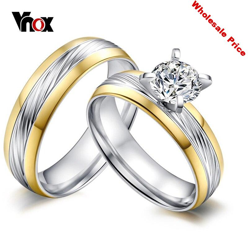 Vnox 10pcs/lots Wholesale Engagement Rings CZ Stone Stainless Steel Ring Provide Mix Size