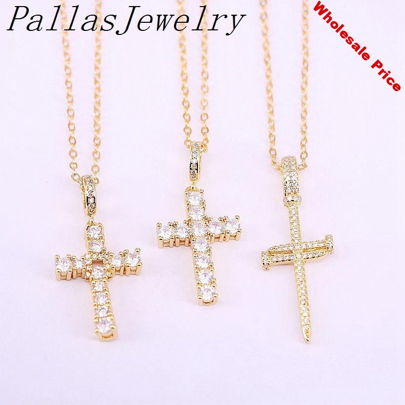 10Pcs CZ Micro Pave Necklace Sparkly Cubic Zirconia Crystal Pave Cross Gold Filled Pendant Necklace