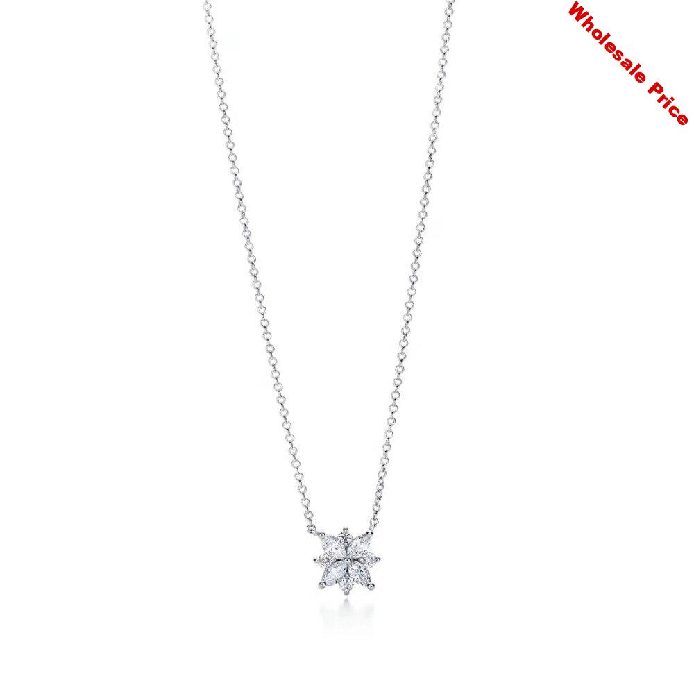 NN21  Romantic necklace 925 Sterling Silver for Women fine Wedding necklace Engagement Jewelry