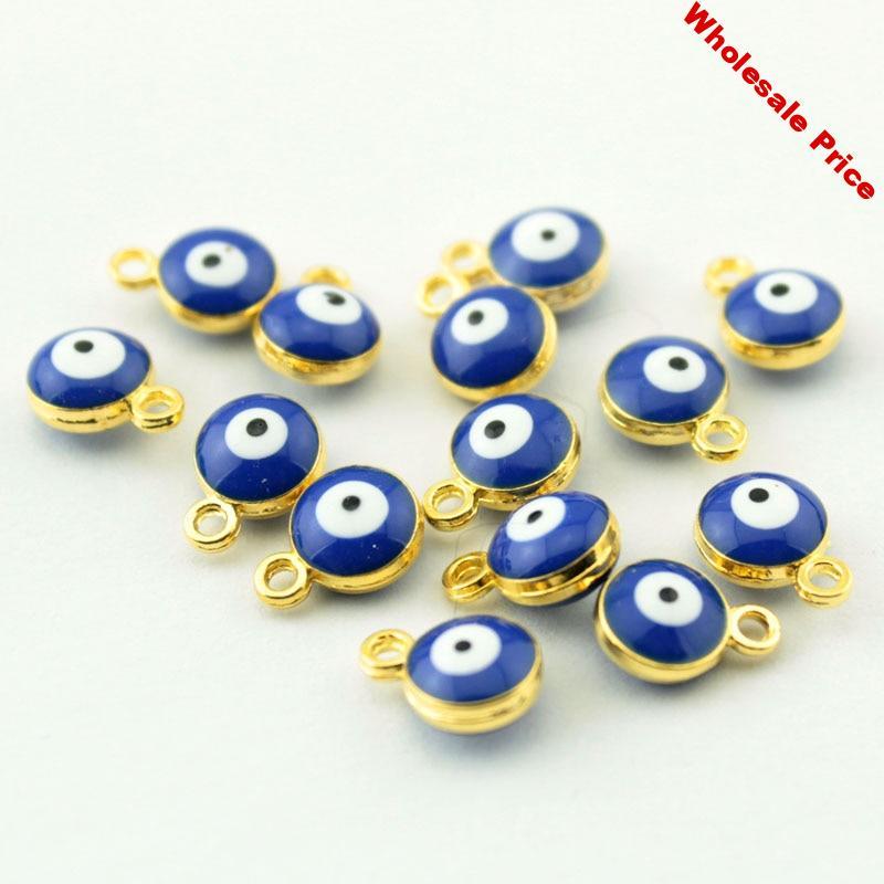 Tevida 200pcs Gold Silver Blue Evil Eye Beads/Spacer Beads/Evil Eye Pattern/DIY Earring Necklaces Materials/Jewelry Accessories