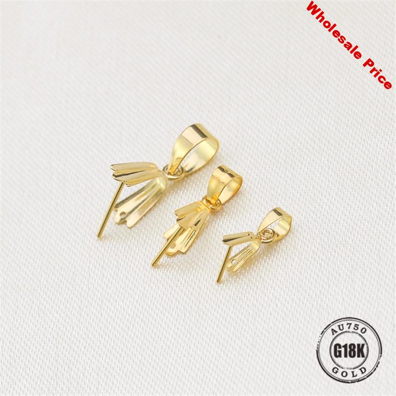 Hot Sell Solid 18k Yellow Gold Pendant Clip Clasp Pinch Clip Bail Pendant Connectors Bail Beads Jewelry Findings DIY Jewelry Acc