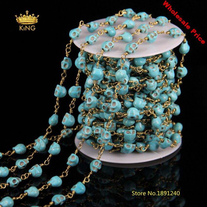 5meter Blue Turquoises Howlite Rosary Chains