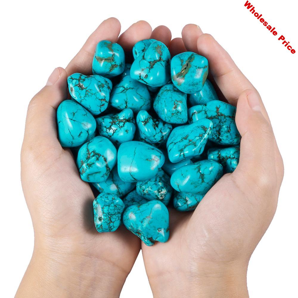 TUMBEELLUWA 0.5lb (230g)Green Howlite Turquoise Irregular Crushed Stone Pieces Specimen for Jewelry Making