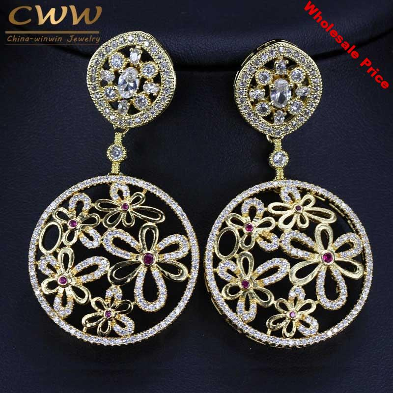 CWWZircons Indian Big Round Drop Design Cubic Zirconia Inlay Large Long Gold Color Earring For Women Party Custom Jewelry CZ237