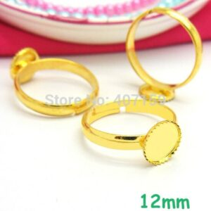 (60 pieces/lot) Blank Kids Girl Rings 12mm Inner Round Bezel tray Cabochon Bases Children Ring Settings Findings Golden Plated