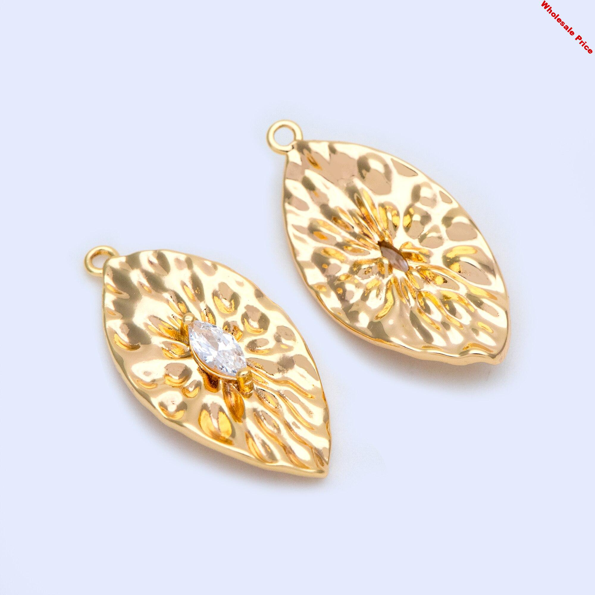 10pcs Gold plated Brass Cubic Zirconia Hammered Leaf Charms
