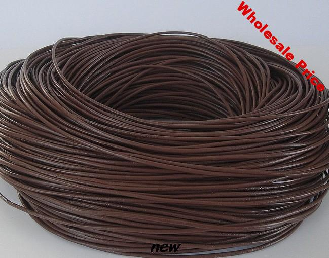 lowest price 1mm 100 meter mixed color Jewelry Black brown WHITE coffee real Round Genuine Leather cords Cord string Rope