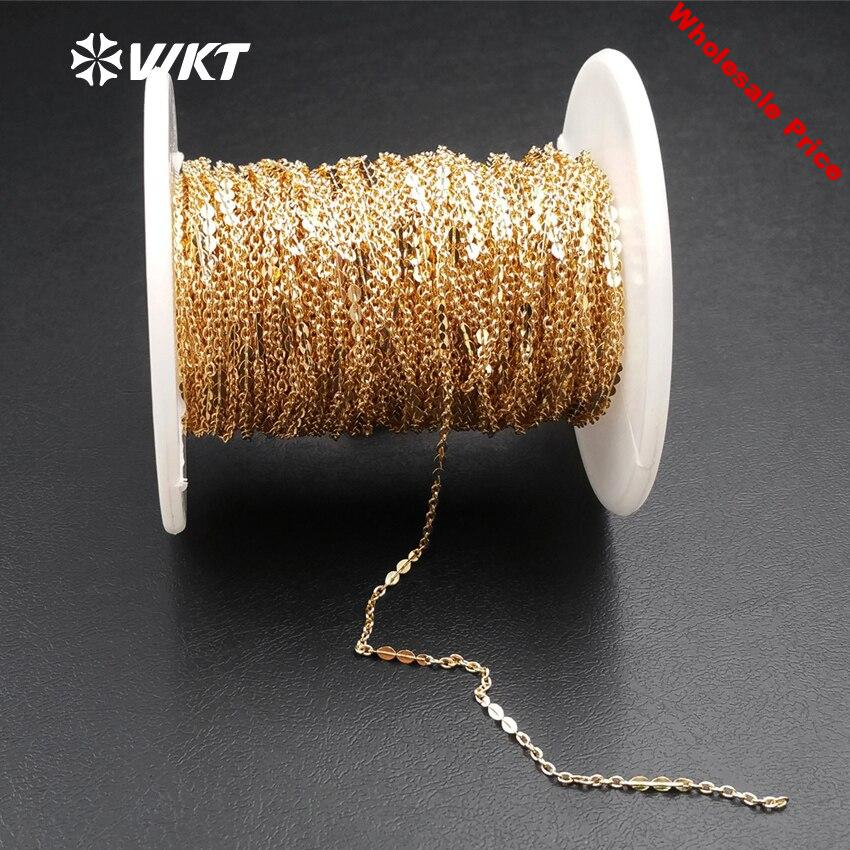 WT-BC113 WKT Fashion Standard High Quality Pure Gold Color Plated Brass Chain For Jewelry Making And Design Unisex Chain