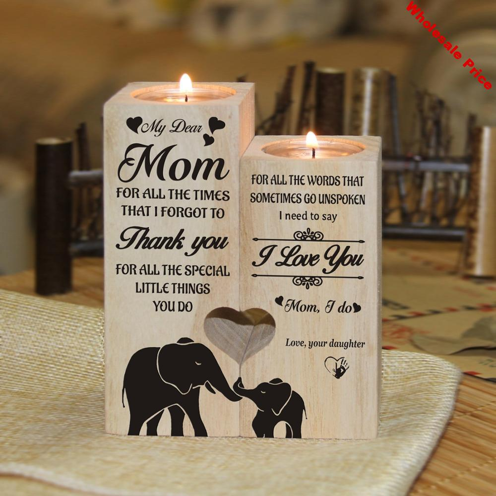 Daughter To Mom I Love You Pair Candle Holders With Love Message Daughter to Mom Gifts To My Mom Candle Holder