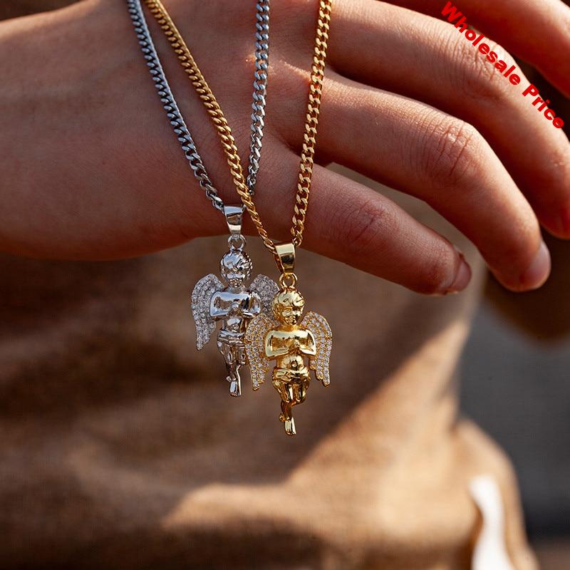 Iced Out Wings Angel Pendant Necklace For Men Women Gifts 2 Colors AAA Zircon Hip Hop Jewelry Fashion Mens Necklace