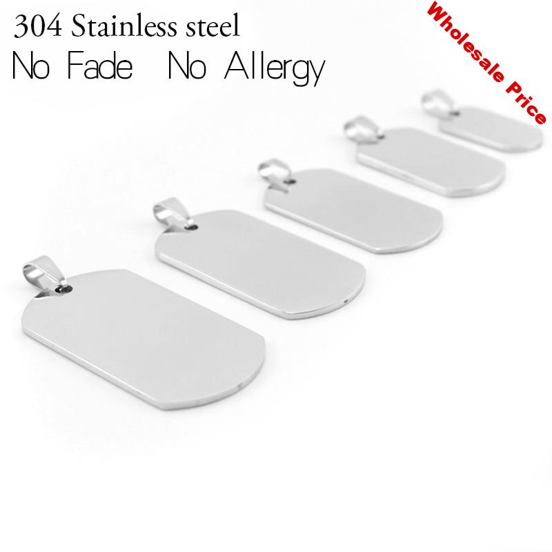20PCS 100% Stainless Steel Blank Dog Tag For Men Military Plate Pendant Blank Metal Tag Soldier Tag Mirror Polished Wholesale