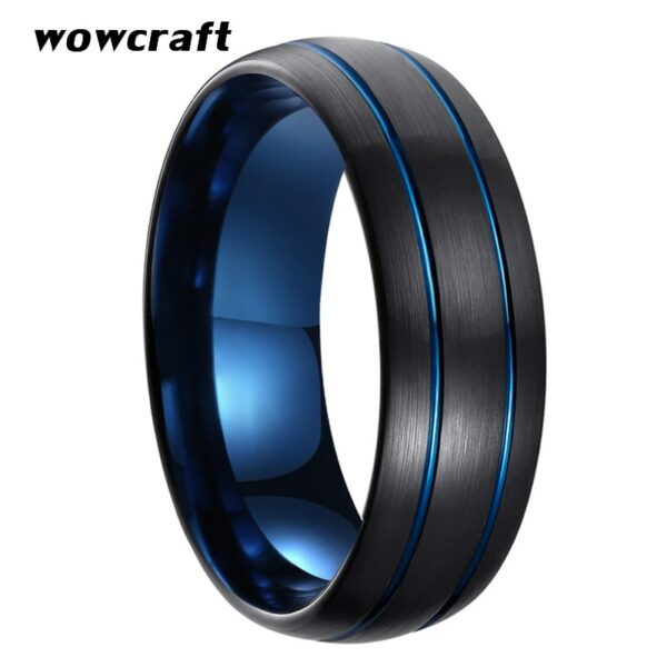 8mm Womens Mens Black Blue Tungsten Carbide Ring Wedding Band Double Grooved Brushed Finish Comfort Fit