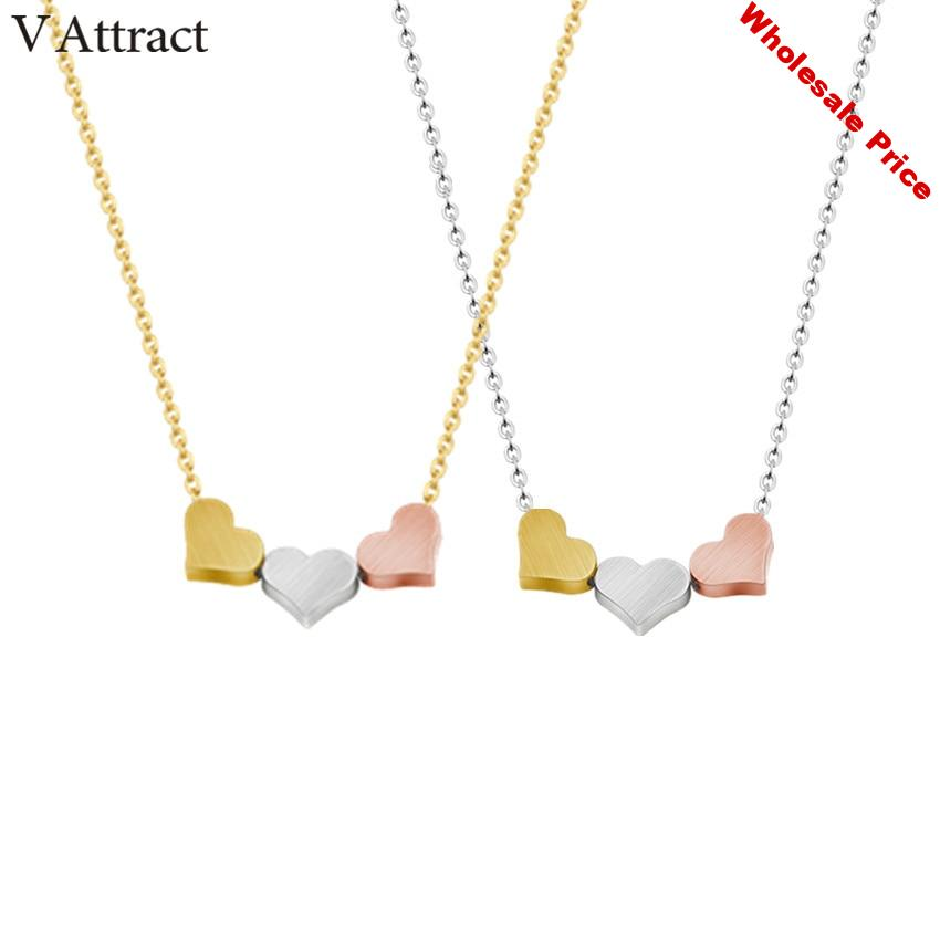 V Attract 10pcs Stainless Steel Dounble Color Small Heart Necklace Women Charm Jewelry Gold Link Chain Colar Feminino Choker